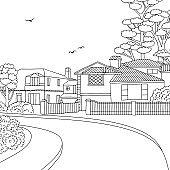 Sketch of a suburban neighbourhood with houses