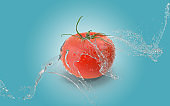 Tomato Up In The Air While Water Splashes Against Blue Background