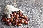 Fresh chestnut scattered of the burlap bag on wooden table