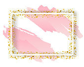 Vector decorative square frame with glitter tinsel of confetti. Glowing festive border with shiny sparkles, watercolor splash and golden elements
