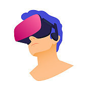 Vector illustration of man wearing virtual reality headset. Abstract VR modern illustration