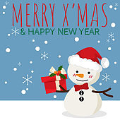 Christmas cartoon of Snowman with gift box and MERRY X'MAS & HAPPY NEW YEAR text. Design for greeting season or party invitation, for Christmas, New Year or Winter Holidays season. Vector illustration.