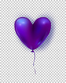 Vector glossy air balloon in heart form. Illustration of purple realistic air 3d balloon isolated on transparent background.