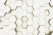 Random waving motion abstract background from hexagon geometric surface loop: light bright clean minimal hexagonal grid pattern, canvas in pure wall architectural white. 3d illustration