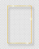 Vector golden shiny vintage square frame isolated on transparent background. Luxury glowing realistic border