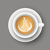 Vector realistic illustration of coffee cup. Top view of realistic hot morning beverage. 3d template of mug with latte for cafe menu design, banner, poster