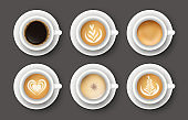 Vector set with 3d realistic different types of coffee in white cups. Collection of top views of mugs of cappuccino, latte, americano, espresso, cocoa for cafe menu design, poster, mock up.