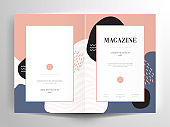 Brochure Flyer Template Layout Background Minimalist Design. booklet, leaflet, portfolio, lookbook, magazine layout with blue and pink background template a4 size - Vector illustration.