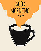 Vector trendy illustration with coffee cup and Good Morning lettering. Modern poster.