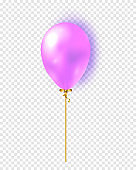 Vector glossy realistic 3d balloon isolated on transparent background