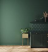 Modern dark deep green kitchen interior, wall mock up