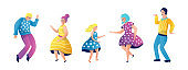 Grandmother, mother and daughter in dresses dance, jump and rejoice. Dad and Grandpa in pants, Vector flat illustration in cartoon style. Set of Isolated objects characters on white background