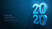 Blue Neon Vector Luxury Text 2020 Happy New Year.