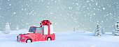 Winter Holidays background. Cute Red Car Carry Christmas Gift In Snowy Landscape 3d render