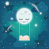 cute moon on the sky keeps a baby sleeping on the swing, good night vector illustration