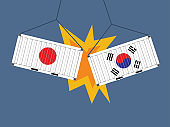 Container japan crashed Container South korea trade war concept. Trade war business concept