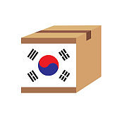 Delivery packaging brown box with korea flag,vector illustration