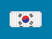 Container with South Korea flag,business trade concept,vector illustration