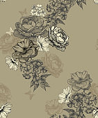 Seamless floral background, seamless wallpaper. Vector illustration.