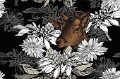 Deer and floral seamless background with chrysanthemums. Hand-drawn, vector illustration