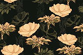 Floral vintage seamless pattern with roses. Hand drawing, vector illustration.