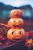 Pumpkin Jack O'Lantern stack for Halloween