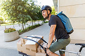 Bike courier making a delivery