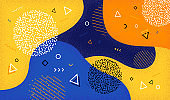 Creative vector illustration of cartoon color splash background with geometric shapes. Abstract pattern in  80s-90s style. EPS 10.