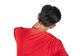 Neck pain from work or sleep isolated on white