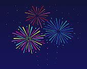 Bright festive fireworks. Festive background.