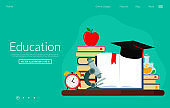 Web banner for education knowledge and training courses.