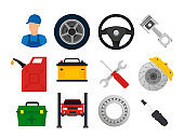 Car service and repair. Vector illustration icons set in flat style.