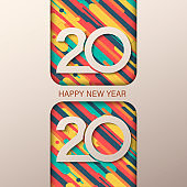 2020 Happy New Year greeting card with fluid paper cut shapes background. 2020 calligraphic numbers cut of origami paper,
