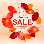 Set vector banners with red, orange, brown and yellow autumn leaves.