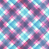 Watercolor diagonal stripe plaid seamless pattern. Colorful background