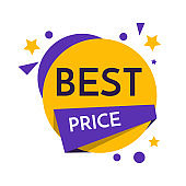 Discount Sticker. Sale Tag Best price Isolated Illustration. Offer Price Label, Vector Price Symbol. EPS
