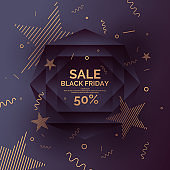Original sale poster for Black Friday sale. Abstract polygonal background. Low poly design.