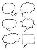 Hand drawn sketch speech bubbles illustration icon set. on white background