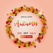 Autumn leaves sale festival  vector design background. Fall color nature background.