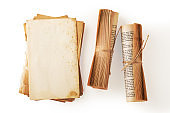 Old book paper and book roll on white background