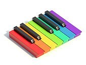 Multi colored piano keys One octave side view 3D