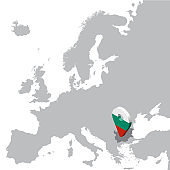 Bulgaria Location Map on map Europe. 3d Bulgaria flag map marker location pin. High quality map of Bulgaria.  Vector illustration EPS10.