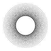 Black abstract vector circle frame halftone dots