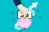 Save money and make your savings grow, return on investment concept.