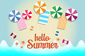 Summer Sale banner and background with sea beach, umbella and mat. Vacation and holiday concept.