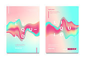 Abstract gradient poster and cover design. Colorful fluid liquid shapes.