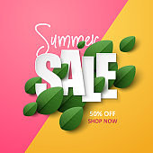 Summer Sale background with green leaves