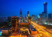 Building in Beijing city in night time, Beijing, China