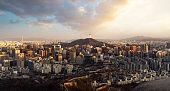 Seoul City Skyline and N Seoul Tower from Iwangsan hill