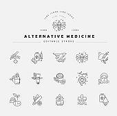 Vector icon and logo for alternative medicine. Editable outline stroke